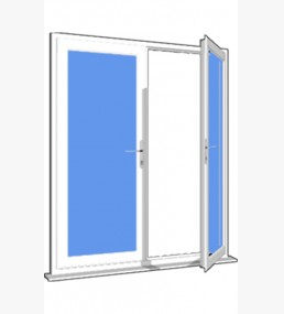 Upvc french doors with opening sash panels in white for Upvc french doors with top light