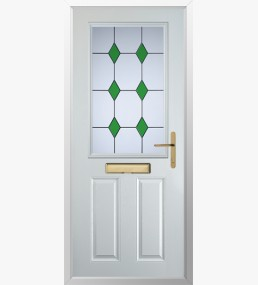 Clumber 3 Drop Diamond Green Composite Door