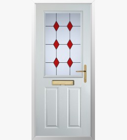 Clumber 3 Drop Diamond Red Composite Door