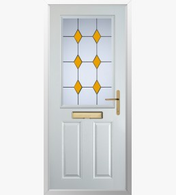 Clumber 3 Drop Diamond Yellow Composite Door